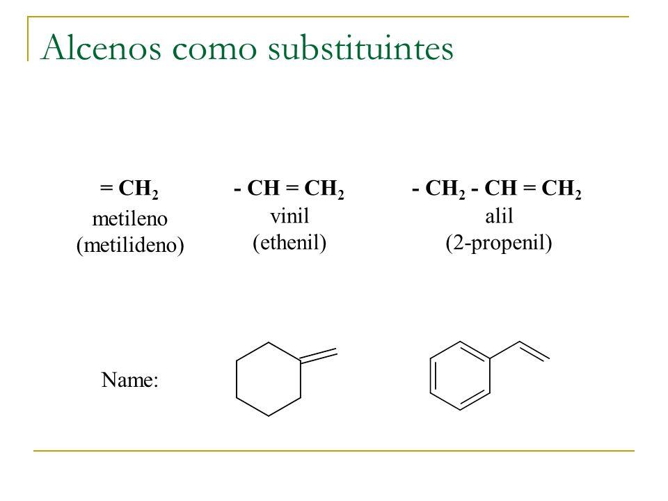 Alcenos como substituintes = CH 2 metileno (metilideno) - CH = CH 2 vinil (ethenil) - CH 2 - CH = CH 2 alil (2-propenil) Name: