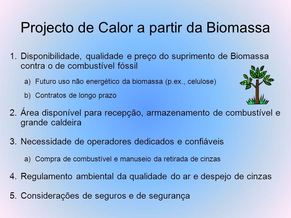 Projecto de Calor a partir da Biomassa 1.Disponibilidade, qualidade e preço do suprimento de Biomassa contra o de combustível fóssil a)Futuro uso não
