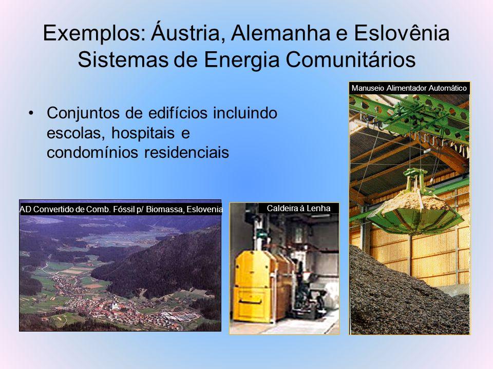 Exemplos: Áustria, Alemanha e Eslovênia Sistemas de Energia Comunitários Conjuntos de edifícios incluindo escolas, hospitais e condomínios residenciai