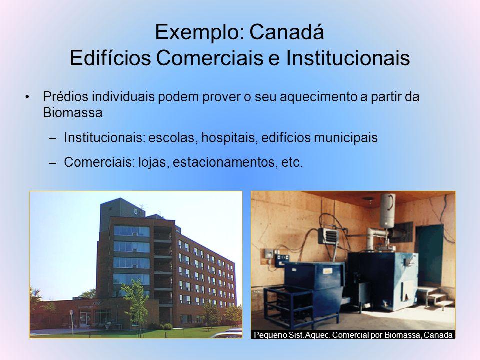 Exemplo: Canadá Edifícios Comerciais e Institucionais Prédios individuais podem prover o seu aquecimento a partir da Biomassa –Institucionais: escolas
