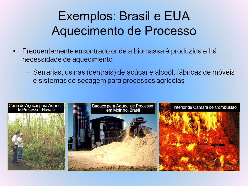 Exemplos: Brasil e EUA Aquecimento de Processo Frequentemente encontrado onde a biomassa é produzida e há necessidade de aquecimento –Serrarias, usina