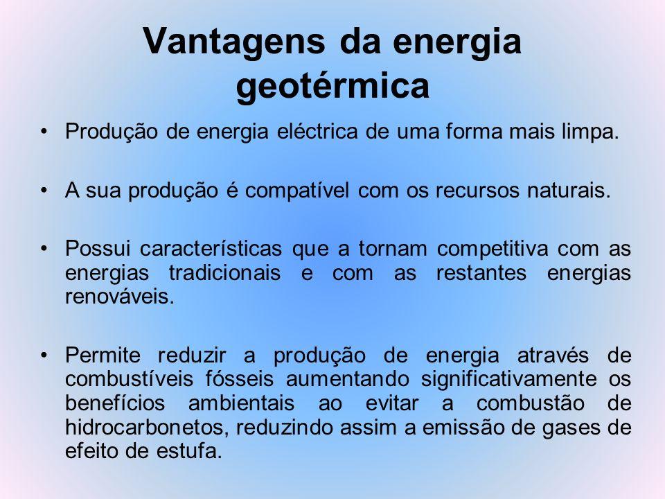 Vantagens da energia geotérmica Produção de energia eléctrica de uma forma mais limpa. A sua produção é compatível com os recursos naturais. Possui ca