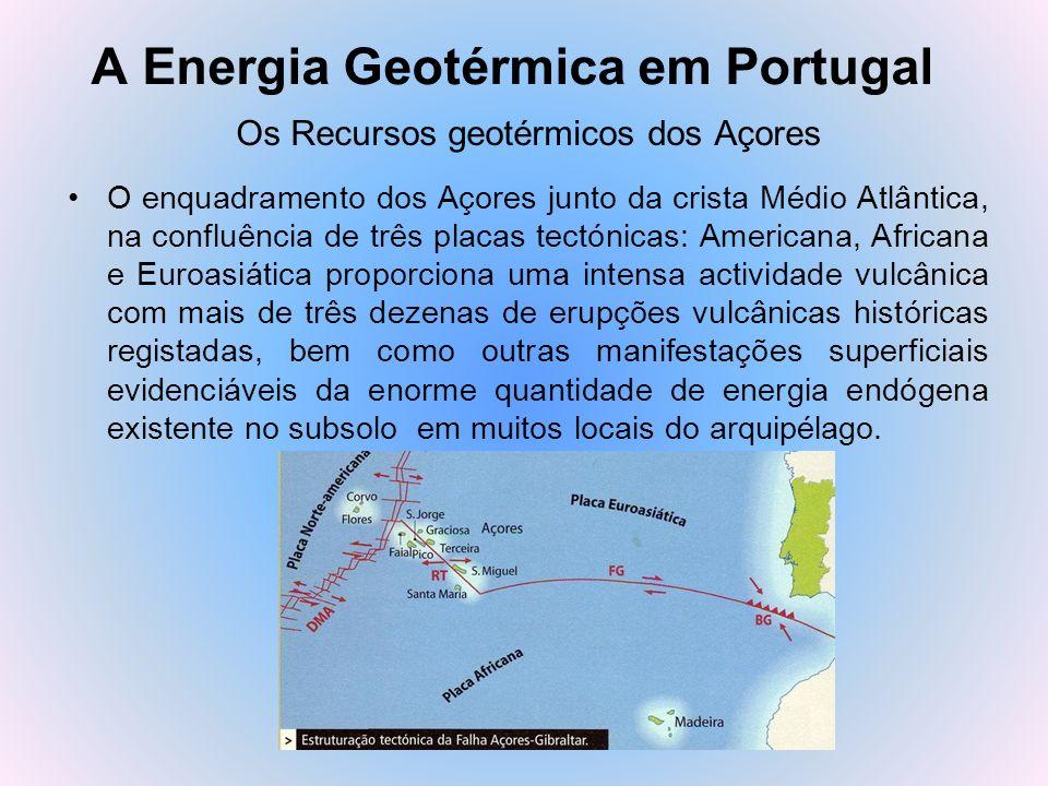 A Energia Geotérmica em Portugal Os Recursos geotérmicos dos Açores O enquadramento dos Açores junto da crista Médio Atlântica, na confluência de três