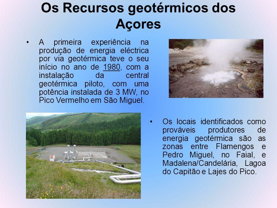 Os Recursos geotérmicos dos Açores Os locais identificados como prováveis produtores de energia geotérmica são as zonas entre Flamengos e Pedro Miguel