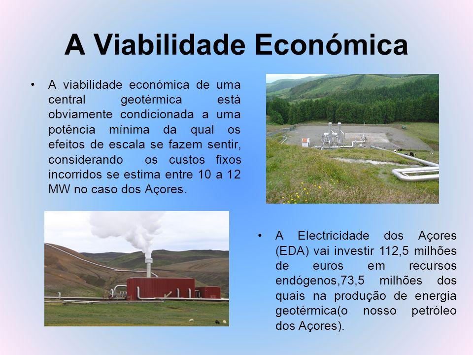 A Viabilidade Económica A viabilidade económica de uma central geotérmica está obviamente condicionada a uma potência mínima da qual os efeitos de esc