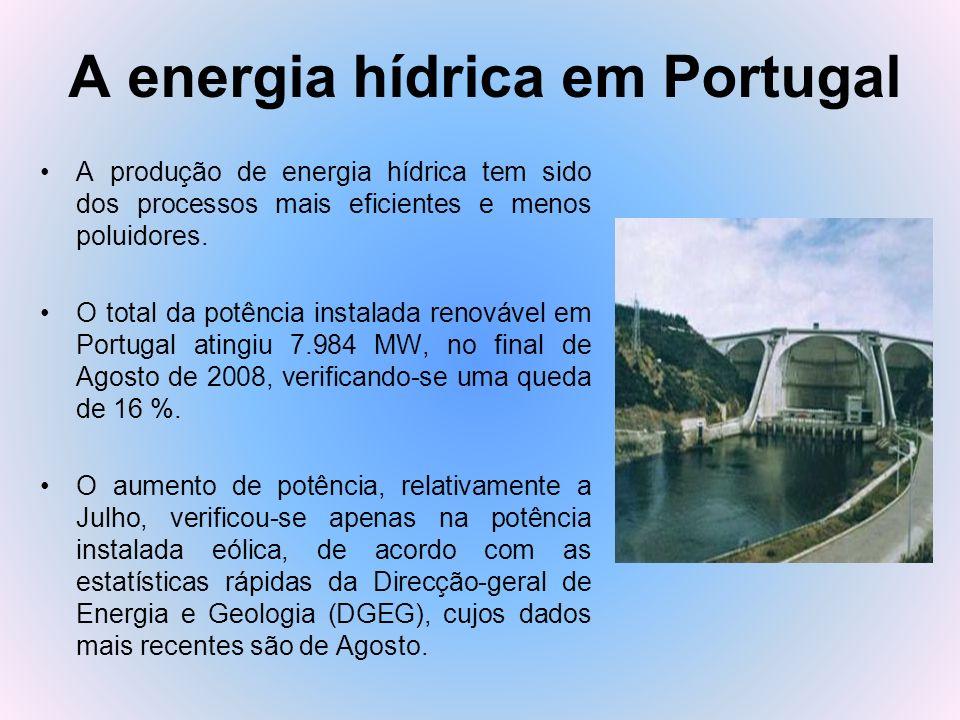 A energia hídrica em Portugal A produção de energia hídrica tem sido dos processos mais eficientes e menos poluidores. O total da potência instalada r