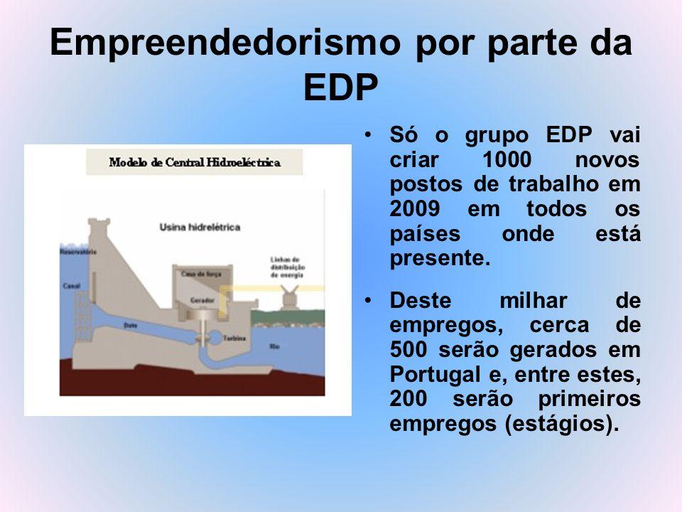 Empreendedorismo por parte da EDP Só o grupo EDP vai criar 1000 novos postos de trabalho em 2009 em todos os países onde está presente. Deste milhar d