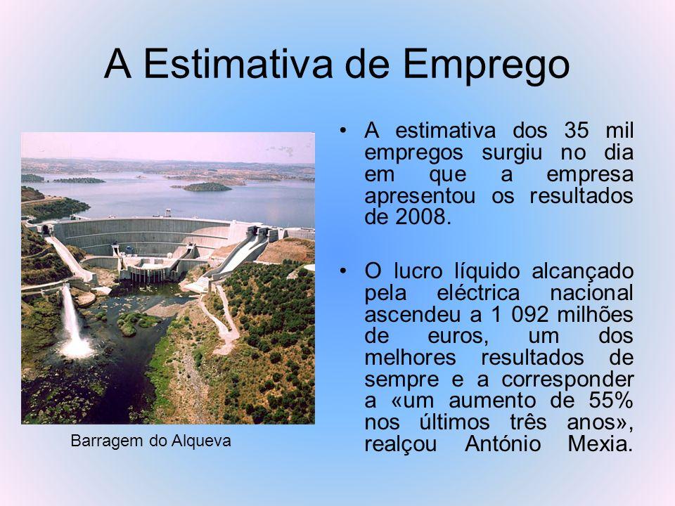 A Estimativa de Emprego A estimativa dos 35 mil empregos surgiu no dia em que a empresa apresentou os resultados de 2008. O lucro líquido alcançado pe