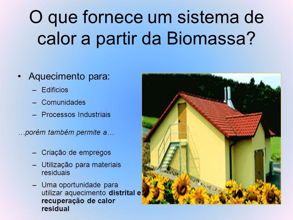 O que fornece um sistema de calor a partir da Biomassa? Aquecimento para: –Edificios –Comunidades –Processos Industriais …porém também permite a… –Cri