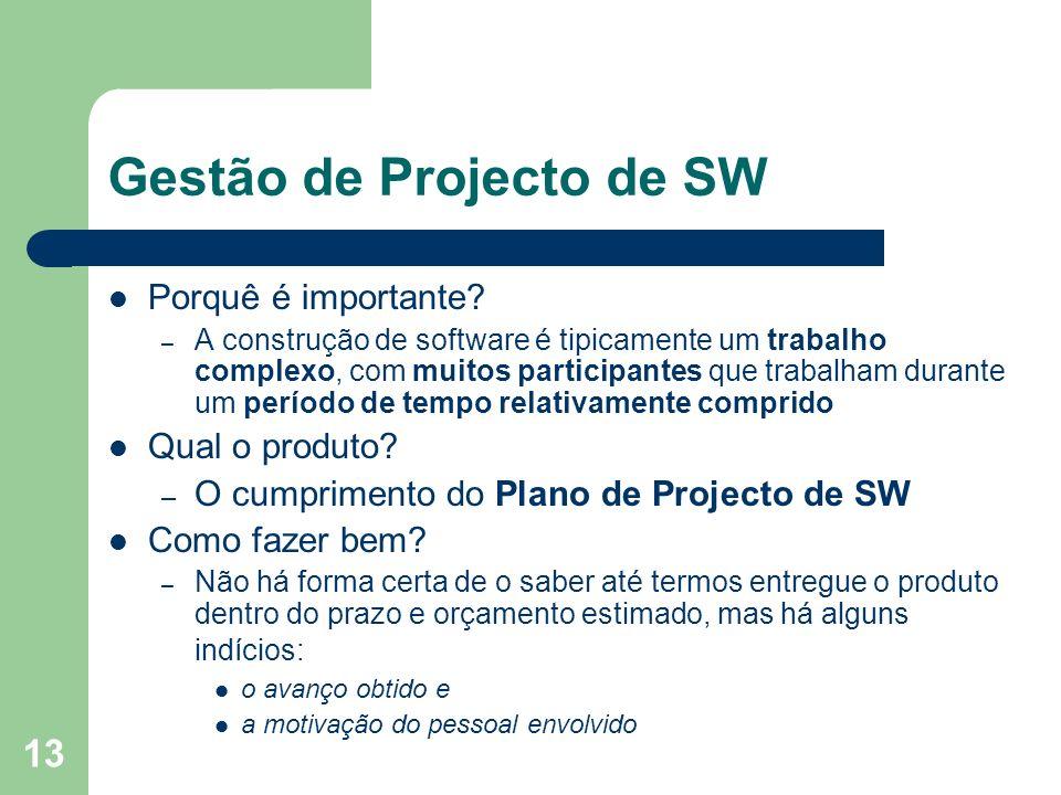 13 Gestão de Projecto de SW Porquê é importante? – A construção de software é tipicamente um trabalho complexo, com muitos participantes que trabalham