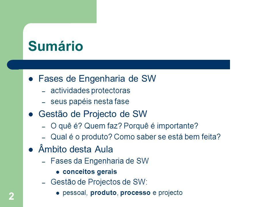 2 Sumário Fases de Engenharia de SW – actividades protectoras – seus papéis nesta fase Gestão de Projecto de SW – O quê é? Quem faz? Porquê é importan