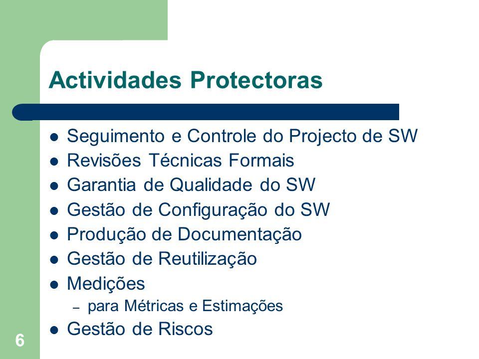 6 Actividades Protectoras Seguimento e Controle do Projecto de SW Revisões Técnicas Formais Garantia de Qualidade do SW Gestão de Configuração do SW P