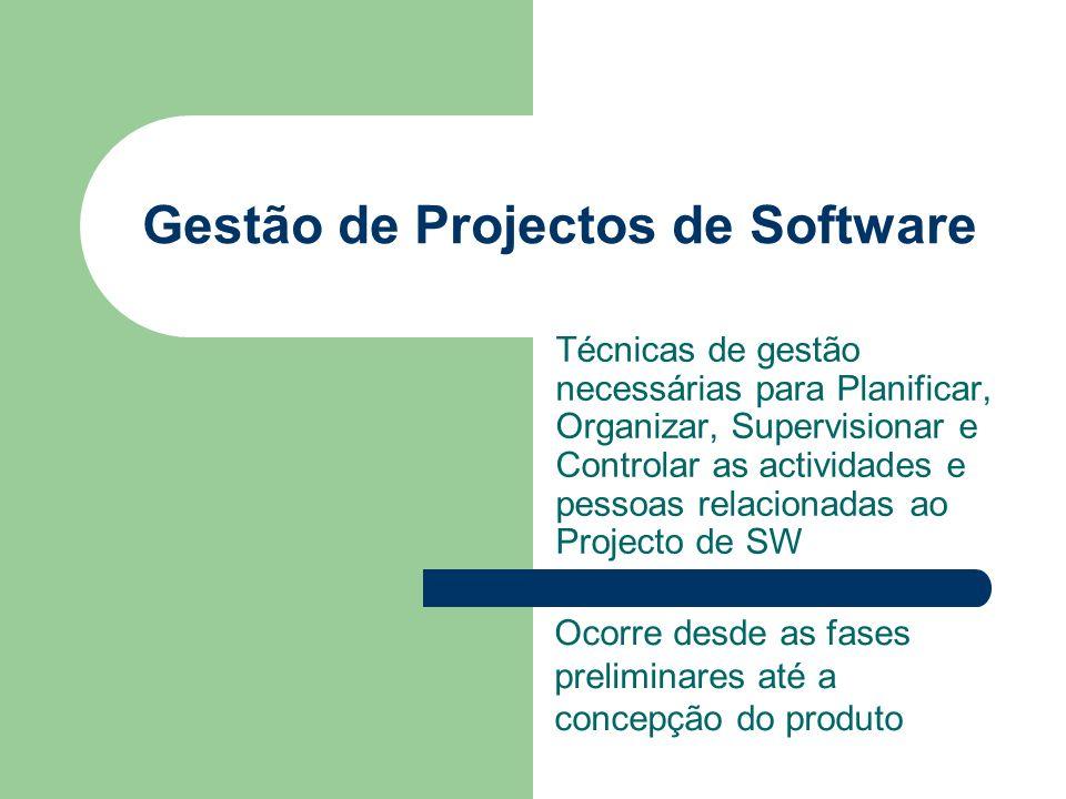Gestão de Projectos de Software Técnicas de gestão necessárias para Planificar, Organizar, Supervisionar e Controlar as actividades e pessoas relacion