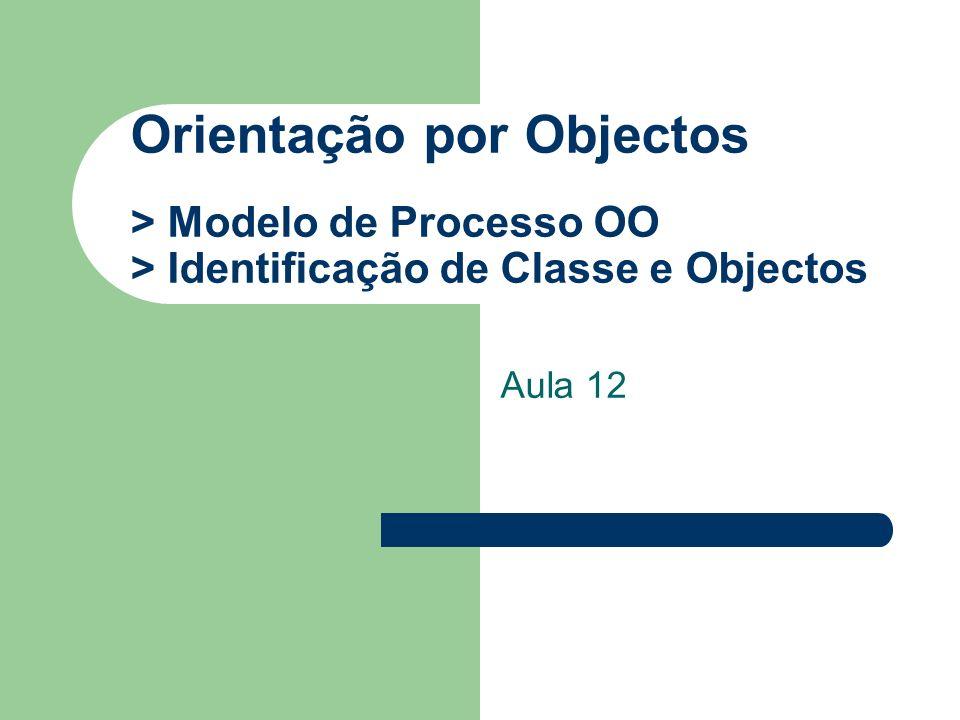 Orientação por Objectos > Modelo de Processo OO > Identificação de Classe e Objectos Aula 12