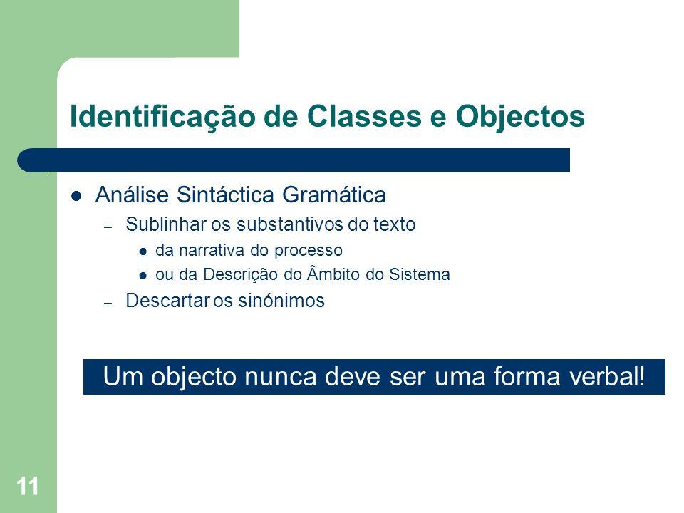 11 Identificação de Classes e Objectos Análise Sintáctica Gramática – Sublinhar os substantivos do texto da narrativa do processo ou da Descrição do Â