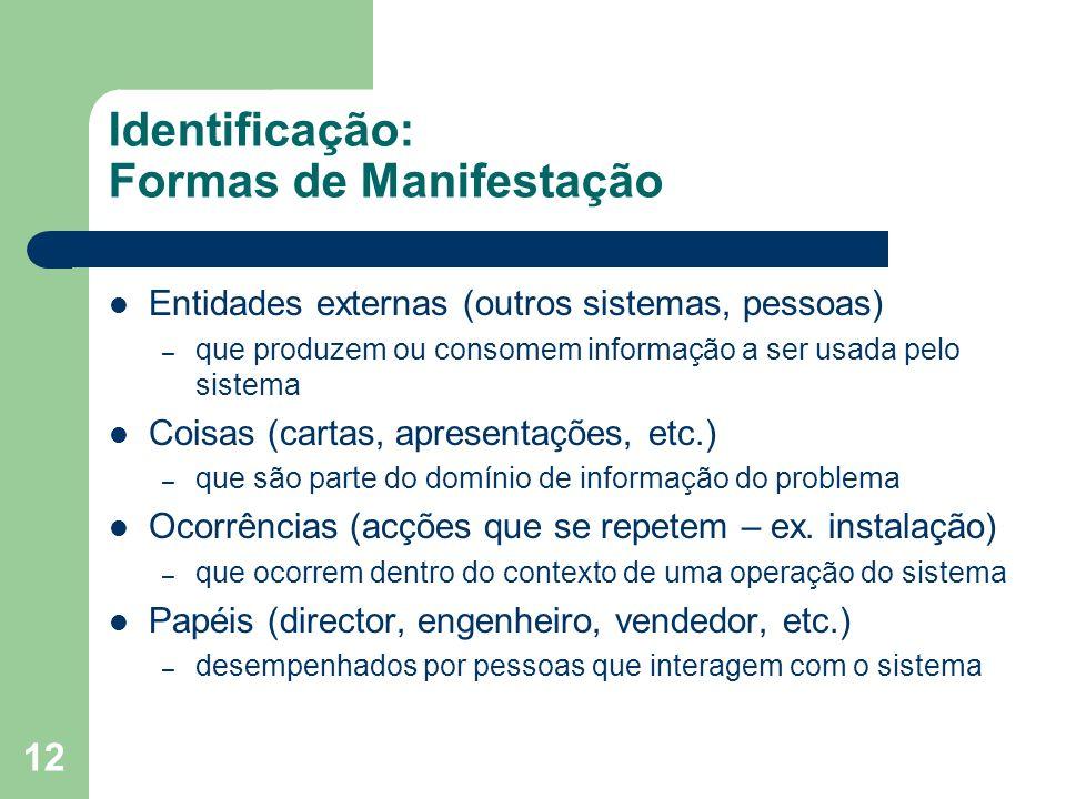 12 Identificação: Formas de Manifestação Entidades externas (outros sistemas, pessoas) – que produzem ou consomem informação a ser usada pelo sistema