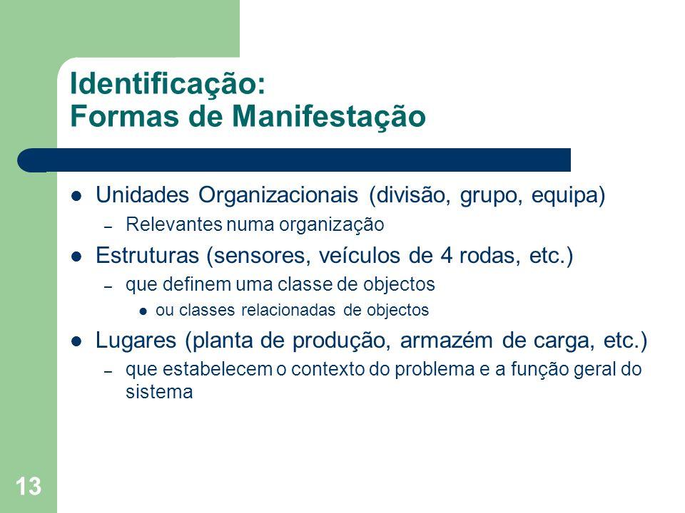 13 Identificação: Formas de Manifestação Unidades Organizacionais (divisão, grupo, equipa) – Relevantes numa organização Estruturas (sensores, veículo