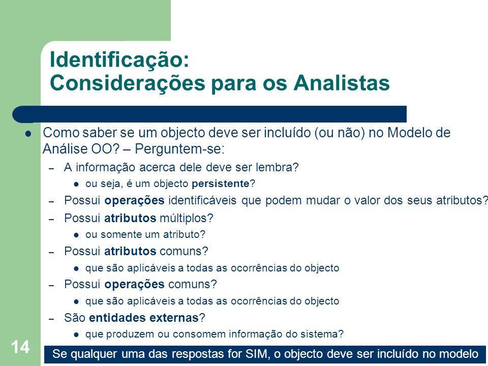 14 Identificação: Considerações para os Analistas Como saber se um objecto deve ser incluído (ou não) no Modelo de Análise OO? – Perguntem-se: – A inf