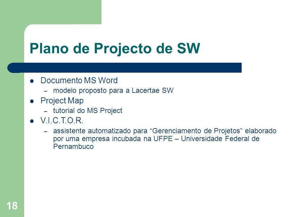 18 Plano de Projecto de SW Documento MS Word – modelo proposto para a Lacertae SW Project Map – tutorial do MS Project V.I.C.T.O.R. – assistente autom