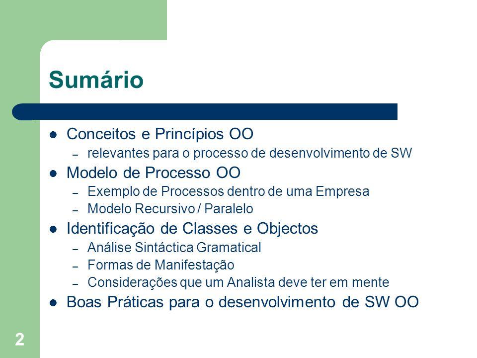 2 Sumário Conceitos e Princípios OO – relevantes para o processo de desenvolvimento de SW Modelo de Processo OO – Exemplo de Processos dentro de uma E
