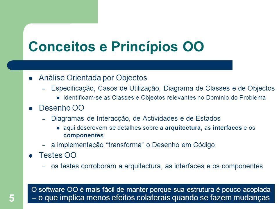 5 Conceitos e Princípios OO Análise Orientada por Objectos – Especificação, Casos de Utilização, Diagrama de Classes e de Objectos Identificam-se as C