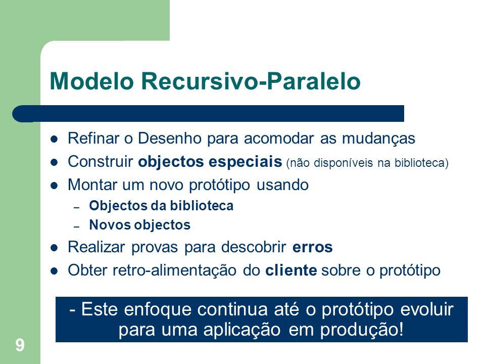 9 Modelo Recursivo-Paralelo Refinar o Desenho para acomodar as mudanças Construir objectos especiais (não disponíveis na biblioteca) Montar um novo pr