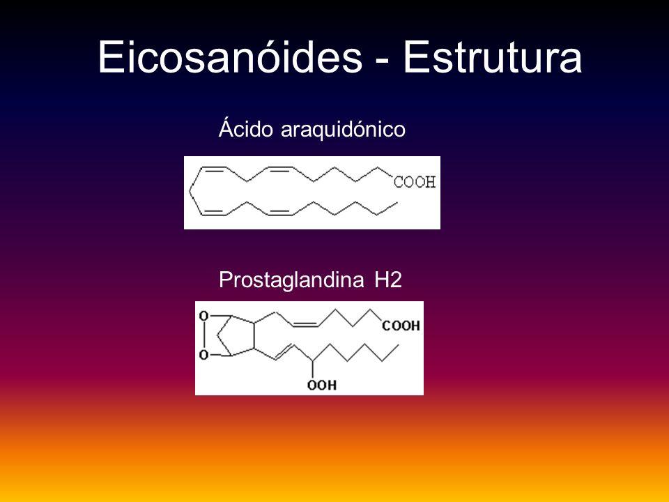 Eicosanóides - Estrutura Ácido araquidónico Prostaglandina H2