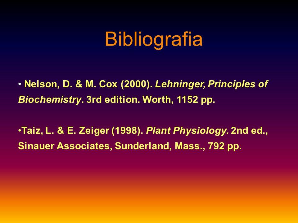 Bibliografia Nelson, D. & M. Cox (2000). Lehninger, Principles of Biochemistry. 3rd edition. Worth, 1152 pp. Taiz, L. & E. Zeiger (1998). Plant Physio
