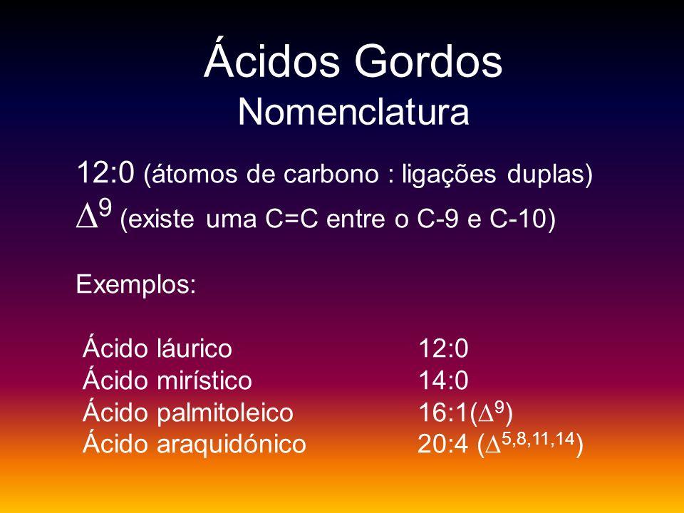 Ácidos Gordos Nomenclatura 12:0 (átomos de carbono : ligações duplas) 9 (existe uma C=C entre o C-9 e C-10) Exemplos: Ácido láurico 12:0 Ácido mirísti