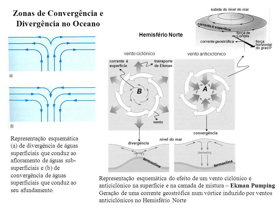 Zonas de Convergência e Divergência no Oceano Representação esquemática (a) de divergência de águas superficiais que conduz ao afloramento de águas su
