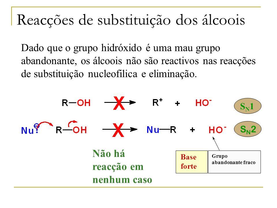 Dado que o grupo hidróxido é uma mau grupo abandonante, os álcoois não são reactivos nas reacções de substituição nucleofilica e eliminação. Base fort