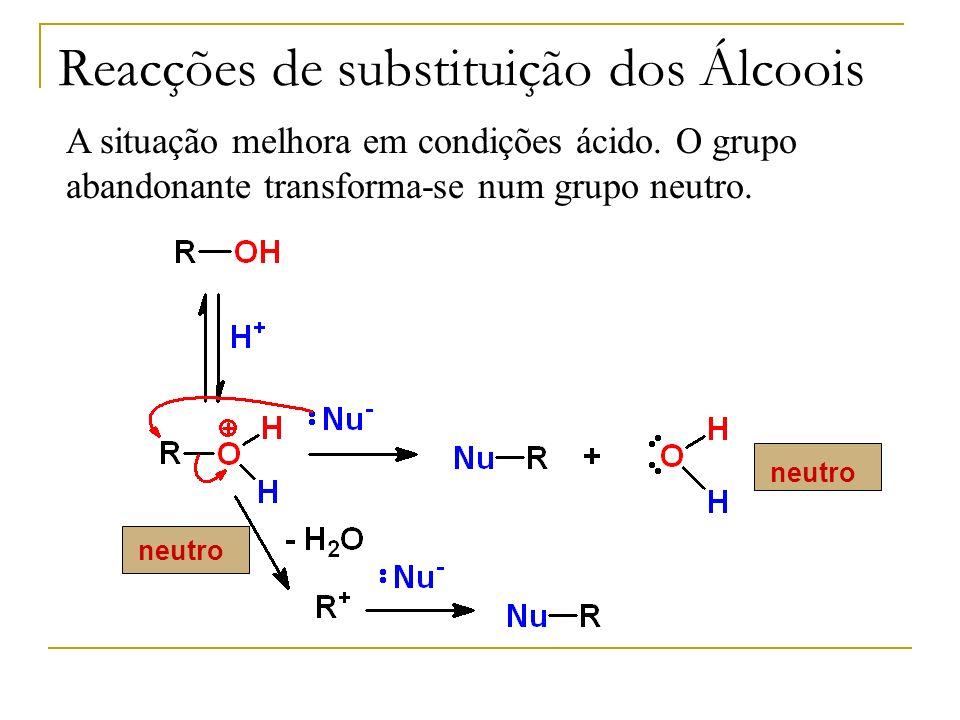 A situação melhora em condições ácido. O grupo abandonante transforma-se num grupo neutro. neutro Reacções de substituição dos Álcoois neutro