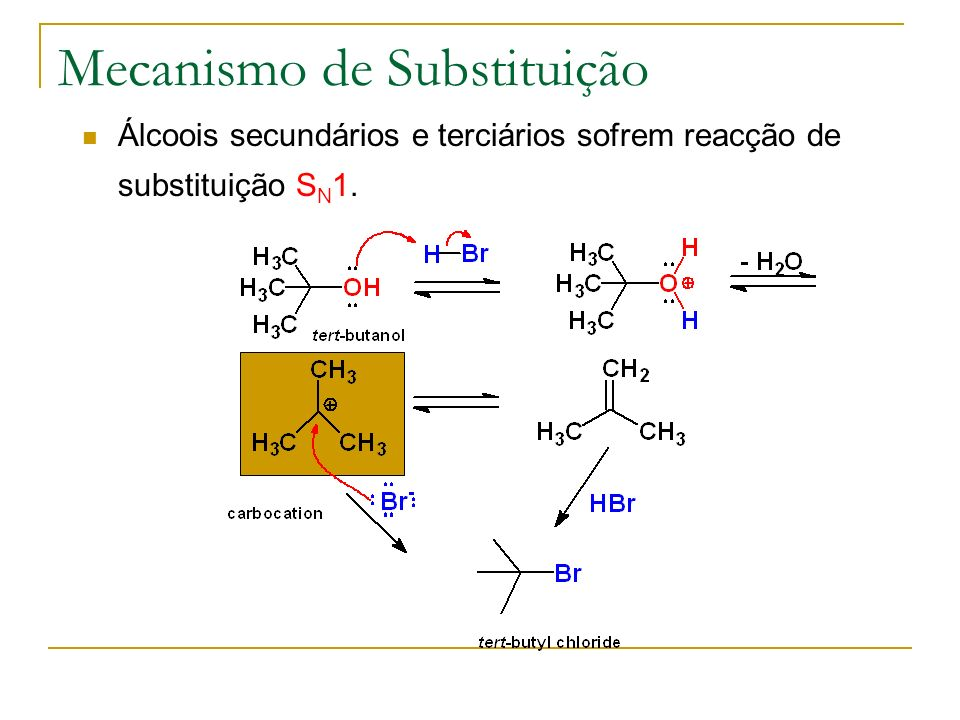 Mecanismo de Substituição Álcoois secundários e terciários sofrem reacção de substituição S N 1.