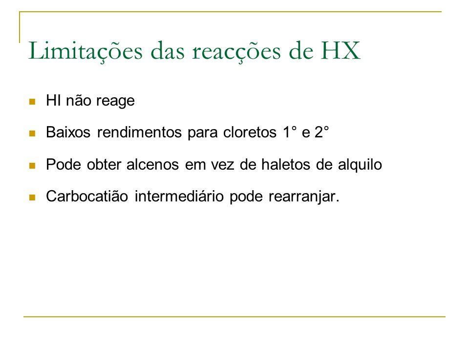 Limitações das reacções de HX HI não reage Baixos rendimentos para cloretos 1° e 2° Pode obter alcenos em vez de haletos de alquilo Carbocatião interm