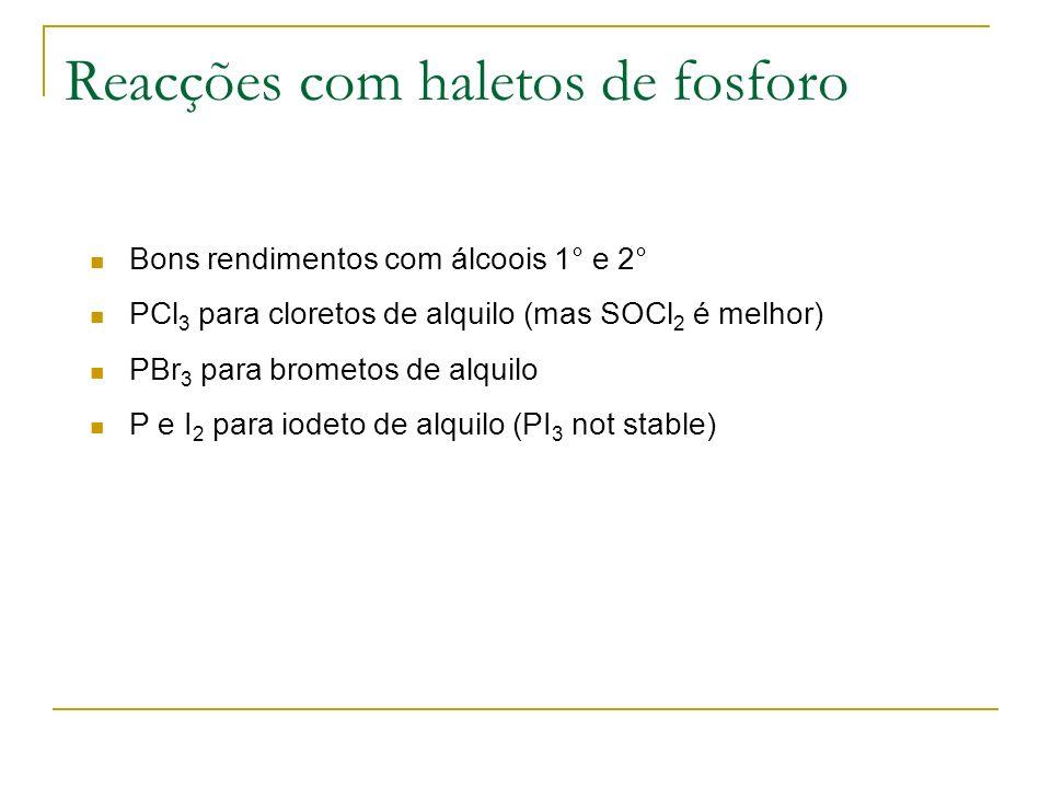 Reacções com haletos de fosforo Bons rendimentos com álcoois 1° e 2° PCl 3 para cloretos de alquilo (mas SOCl 2 é melhor) PBr 3 para brometos de alqui