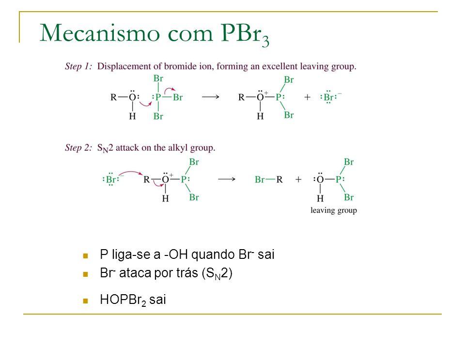 Mecanismo com PBr 3 P liga-se a -OH quando Br - sai Br - ataca por trás (S N 2) HOPBr 2 sai