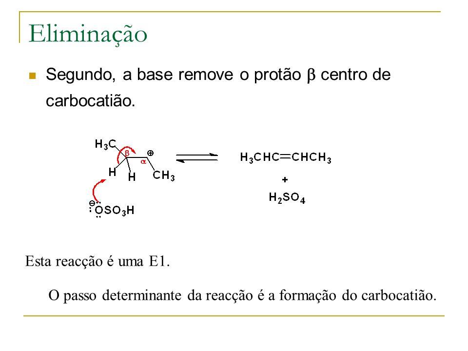 Eliminação Segundo, a base remove o protão centro de carbocatião. Esta reacção é uma E1. O passo determinante da reacção é a formação do carbocatião.