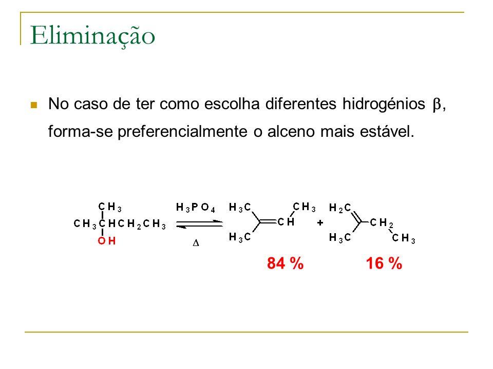 Eliminação No caso de ter como escolha diferentes hidrogénios, forma-se preferencialmente o alceno mais estável. 84 %16 %