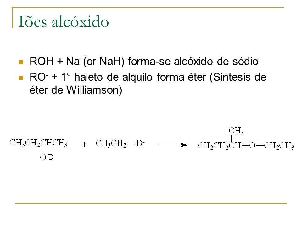 Iões alcóxido ROH + Na (or NaH) forma-se alcóxido de sódio RO - + 1° haleto de alquilo forma éter (Sintesis de éter de Williamson)