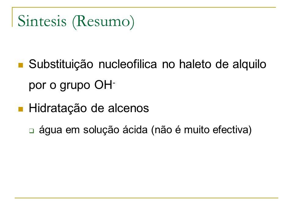 Sintesis (Resumo) Substituição nucleofilica no haleto de alquilo por o grupo OH - Hidratação de alcenos água em solução ácida (não é muito efectiva)