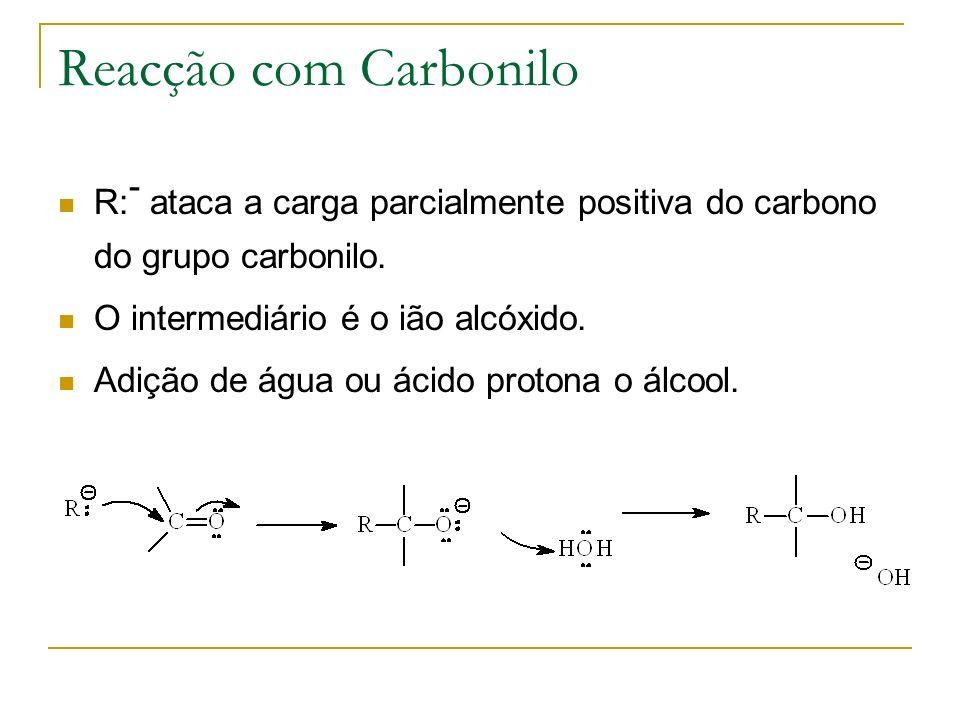 Reacção com Carbonilo R: - ataca a carga parcialmente positiva do carbono do grupo carbonilo. O intermediário é o ião alcóxido. Adição de água ou ácid