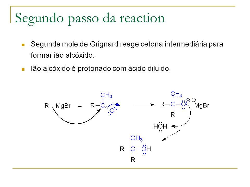 Segundo passo da reaction Segunda mole de Grignard reage cetona intermediária para formar ião alcóxido. Ião alcóxido é protonado com ácido diluido.