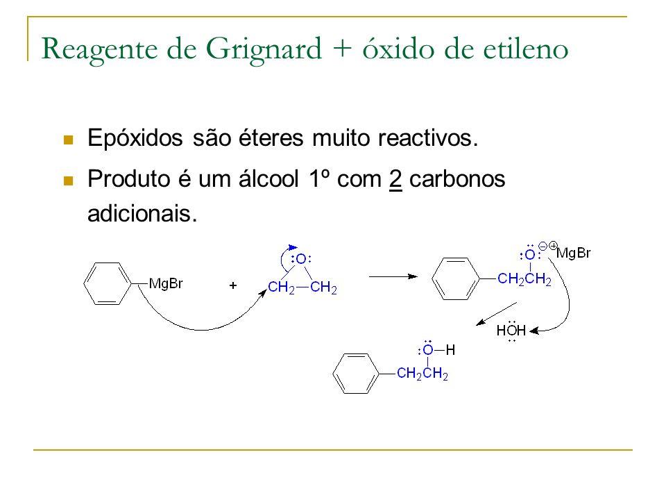 Reagente de Grignard + óxido de etileno Epóxidos são éteres muito reactivos. Produto é um álcool 1º com 2 carbonos adicionais.