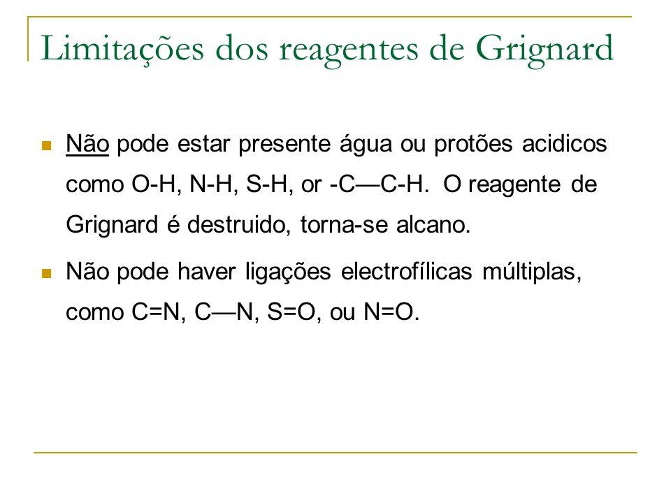 Limitações dos reagentes de Grignard Não pode estar presente água ou protões acidicos como O-H, N-H, S-H, or -CC-H. O reagente de Grignard é destruido