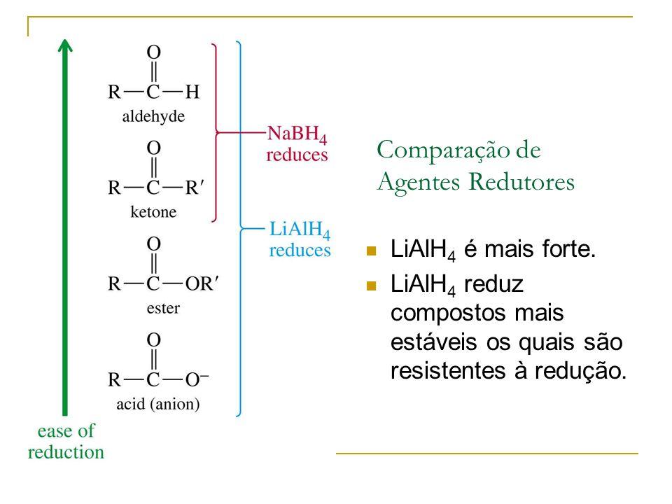 Comparação de Agentes Redutores LiAlH 4 é mais forte. LiAlH 4 reduz compostos mais estáveis os quais são resistentes à redução.