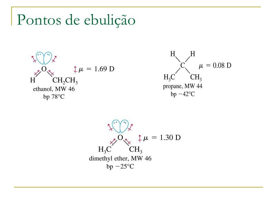 Resumindo: tipos de reacções de álcoois Deshidratação formando o alceno Oxidação a aldeído e cetona Substituição formando o haleto de alquilo Redução a alcano Síntese de Williamson: formação de éter