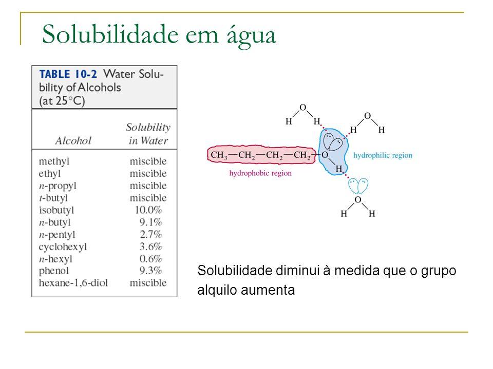 Solubilidade em água Solubilidade diminui à medida que o grupo alquilo aumenta