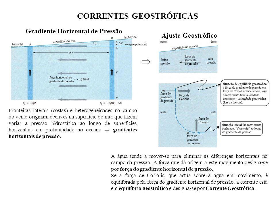 CORRENTES GEOSTRÓFICAS Gradiente Horizontal de Pressão Ajuste Geostrófico A água tende a mover-se para eliminar as diferenças horizontais no campo da