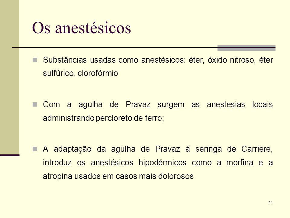 11 Os anestésicos Substâncias usadas como anestésicos: éter, óxido nitroso, éter sulfúrico, clorofórmio Com a agulha de Pravaz surgem as anestesias lo