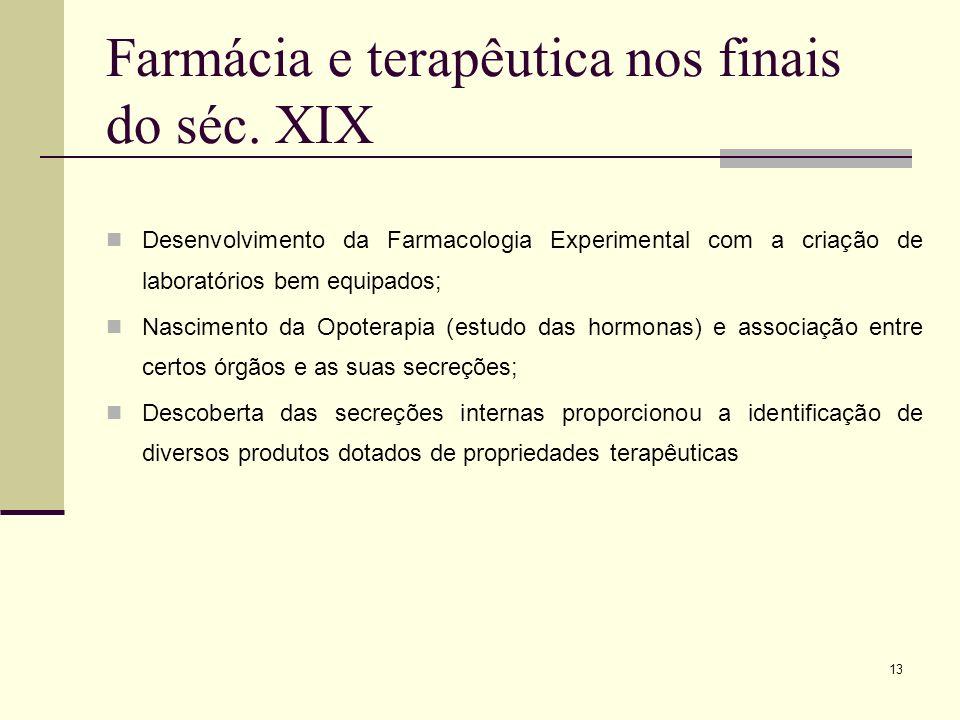 13 Farmácia e terapêutica nos finais do séc. XIX Desenvolvimento da Farmacologia Experimental com a criação de laboratórios bem equipados; Nascimento
